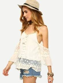 Cold Shoulder Lace Trimmed Lace-Up Top - White