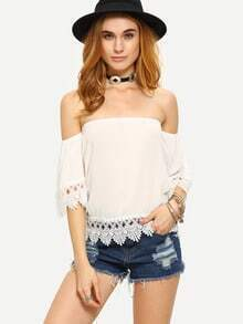 Lace Trimmed Off-The-Shoulder Top - White
