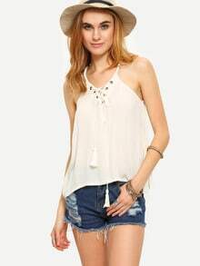 Halter Neck Eyelet Lace-Up Top - White