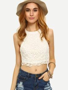 Halter Neck Lace Overlay Lace-Up Crop Top - White