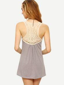 Lace Racerback Striped Tank Top - Grey