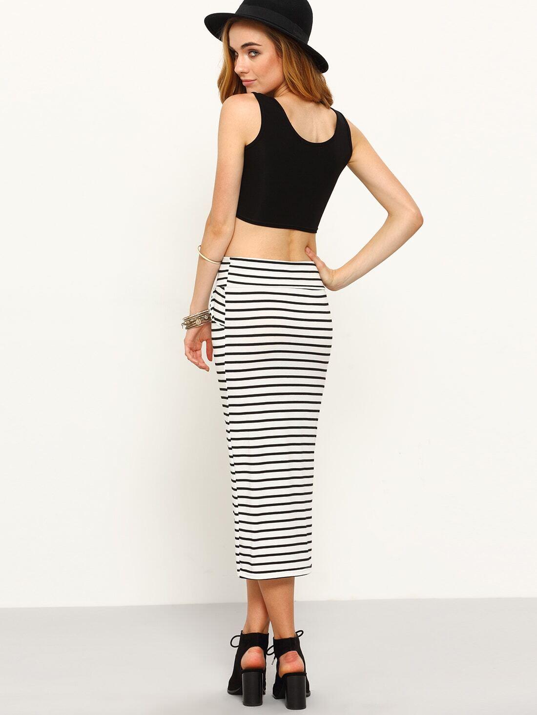 drawstring waist striped jersey pencil skirt white