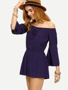 Off-The-Shoulder Lace-Up Bell Sleeve Romper - Blue