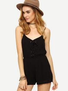 Eyelet Lace-Up Elastic Waist Cami Romper - Black