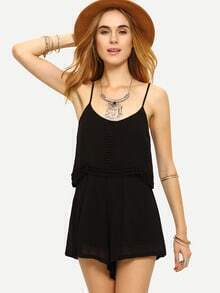 Lace Trimmed Slit Back Layered Cami Romper - Black