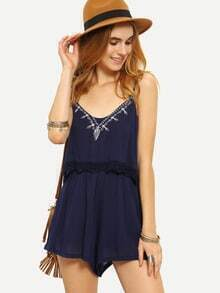 Lace Trimmed Embroidered Layered Cami Romper - Blue