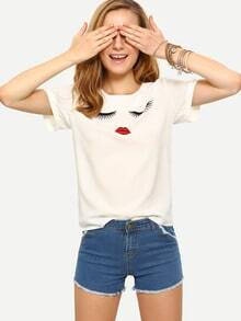 Eyelash & Lip Print Rolled Sleeve T-shirt