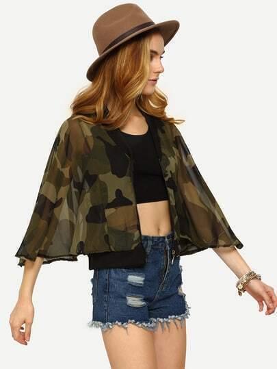 Dolman Sleeve Camouflage Chiffon Jacket - Olive Green