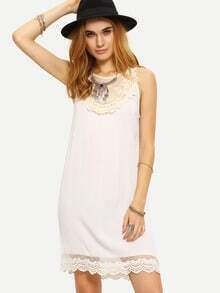 Lace Insert Sleeveless Shift Dress - White