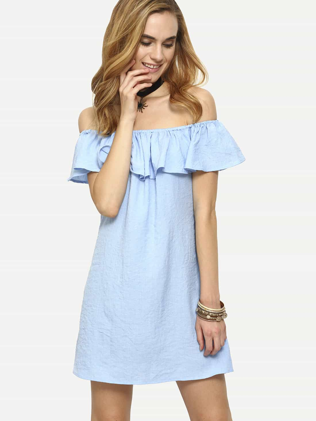 Flounce Off-The-Shoulder Dress cute off the shoulder lemon dress for women