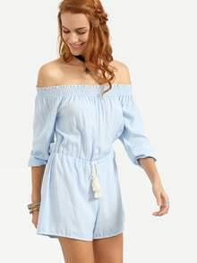 Off-The-Shoulder Tasselled Drawstring Waist Romper - Blue