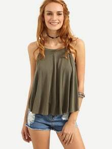 Eyelet Lace-Up Back Swing Cami Top - Olive Green