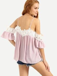 Lace Trimmed Cold Shoulder Top - Pink