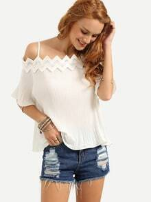 Lace Trimmed Cold Shoulder Pleated Top - White