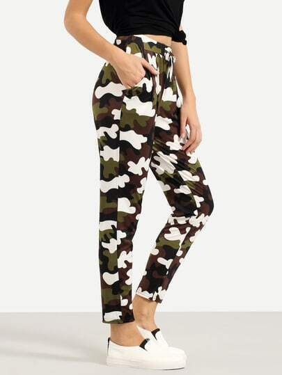 Drawstring Waist Camouflage Pants - Olive Green