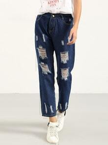 Ripped Blue Boyfriend Jeans