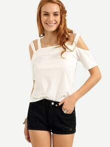 Ladder-Cutout Shoulder T-shirt - White