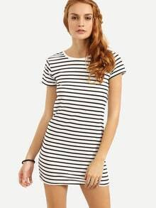 Black White Striped Shift Tee Dress