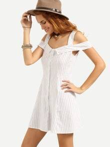 Cold Shoulder Buttoned Front Vertical Striped Dress - White
