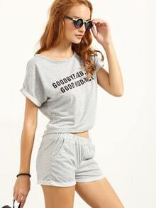 Letter Print T-shirt With Shorts - Grey