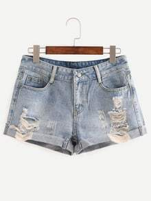 Frayed Rolled Hem Light Blue Denim Shorts