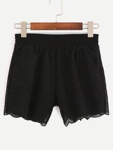 Scalloped Hem Embroidered Mesh Shorts - Black