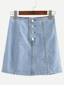 Buttoned Fly A-Line Denim Skirt - Light Blue