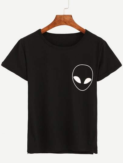 Alien Print T-shirt - Black