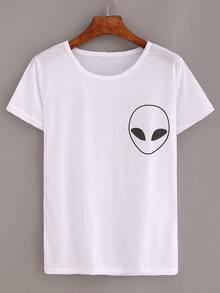 Alien Print T-shirt - White