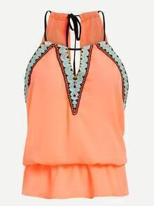Embroidered Drawstring Neck Peplum Top - Orange