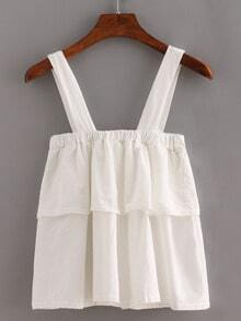 Wide Strap Layered Top - White