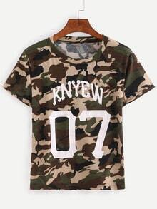 Varsity Print Camouflage T-shirt - Olive Green