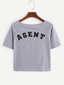 Letter Print Raglan Sleeve T-shirt - Grey