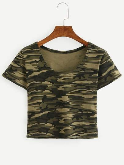 Olive Green Camouflage Crop T-shirt