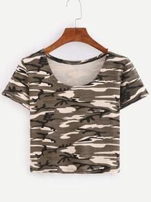 Khaki Camouflage Crop T-shirt