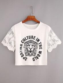 Embroidered Mesh Sleeve Lion Print Crop T-shirt - White