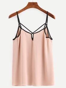 Contrast Trim Lattice Chiffon Cami Top - Pink
