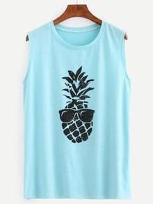 Pineapple Print Tank Top - Sky Blue