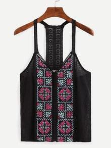 Lace Racerback Embroidered Cami Top - Black