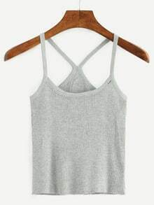 Racerback Ribbed Cami Top - Grey