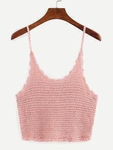 Crop Crochet Cami Top - Pink