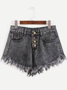 Buttoned Fly Raw Hem Grey Denim Shorts