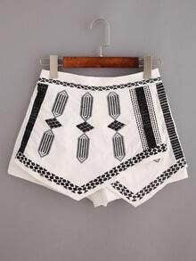 Embroidered Cross Wrap Asymmetric Shorts - White