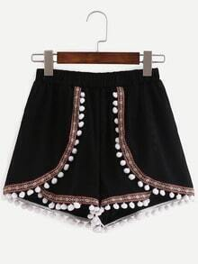 Pom Pom Trimmed Embroidered Shorts - Black