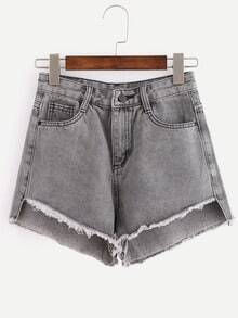 Raw Hem Grey Denim Shorts