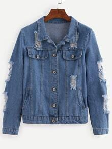 Buttoned Front Ripped Blue Denim Outerwear