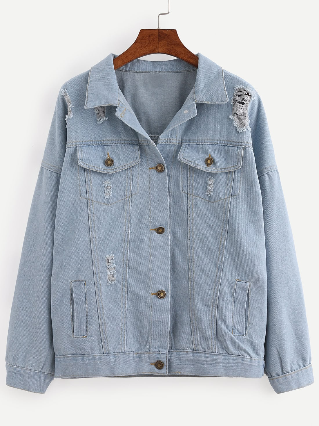 Buttoned Front Ripped Denim Jacket