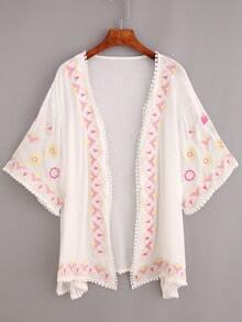 Pom Pom Trimmed Embroidered Kimono - White