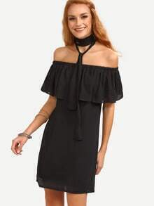 Ruffled Off-The-Shoulder Chiffon Dress - Black