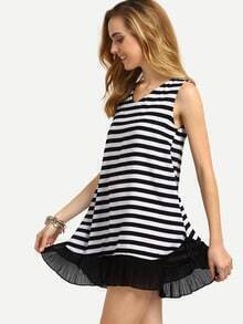 V-Neck Ruffled Hem Black White Striped Tank Dress